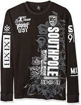 Southpole Men's Long Sleeve Hd, Screen Print Graphic Tee with Logo