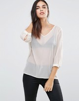 Vila V Neck 3/4 Sleeve Top