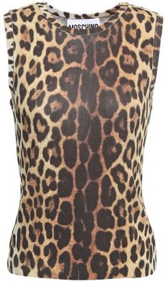 Moschino Leopard-print Stretch-knit Top
