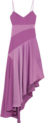 Nicholas Asymmetric Satin-paneled Crepe Dress