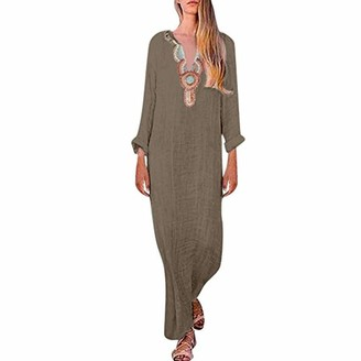 Abuyall Long Sleeve Kaftan Maxi Dress for Women Boho Embroidered Casual Cotton and Linen Tunics White M
