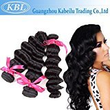 "KBL Grade 5A Unprocessed Natural Virgin Human Hair Brazilian Loose Wave 3 Bundles Hair Weaves Natural Black (20"" 22"" 24"")"