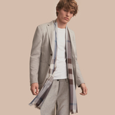 Burberry Slim Fit Herringbone Cotton Blend Jersey Jacket