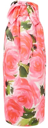 Richard Quinn Floral Print Knotted Bow Duchess Satin Gown - Womens - Pink Multi