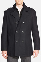 Andrew Marc Joshua Double Breasted Wool Blend Peacoat with Inset Bib