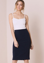 Missy Empire Danica Navy High Waisted Midi Skirt