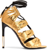 Tom Ford Metallic Eel And Leather Sandals - Gold