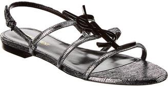 Saint Laurent Cassandra Metallic Leather Sandal