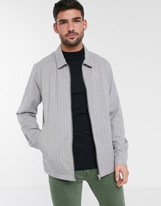 Topman overshirt in gray stripe