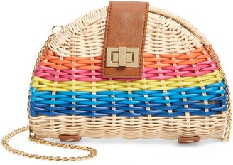BP Rainbow Stripe Straw Crossbody Bag