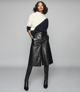 Reiss Lizzie - Cashmere & Wool Blend Jumper in Navy & White