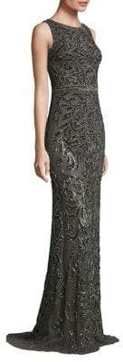 Theia Metallic Beaded Gown