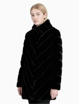 Calvin Klein Chevron Faux Fur Coat