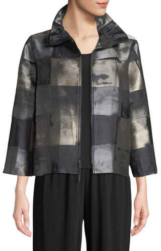 Caroline Rose Squaring Off Zip-Front Graphic Jacquard Crop Jacket