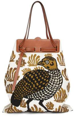 Loewe Lazo Partridge-embroidered Canvas Tote Bag - Womens - White Multi