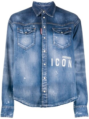 DSQUARED2 Icon paint-splattered denim shirt