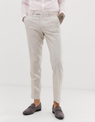 Harry Brown wedding wool blend slim fit summer tweed suit pants-Cream