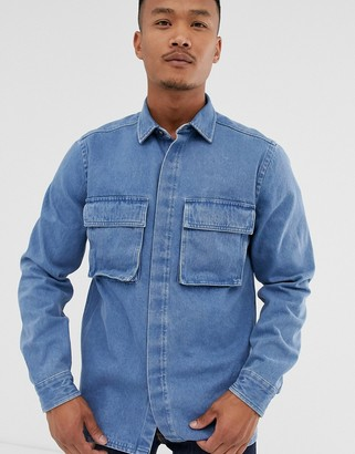 Asos Design DESIGN denim overshirt with double pockets in mid wash