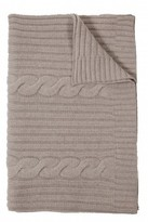 The Well Appointed House 100% Cashmere Heavy Knit Cable Throw in Pearl