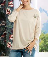 Simple By Suzanne Betro Simple by Suzanne Betro Women's Tee Shirts 101OATMEAL - Oatmeal Floral-Accent Pocket Three-Quarter Sleeve Tee - Women