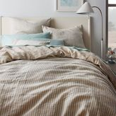 west elm Striped Belgian Flax Linen Duvet Cover + Shams - Pale Harbor