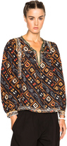 Isabel Marant Tyron Embroidered Printed Silk Blouse