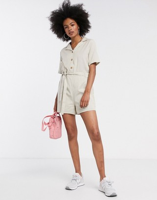 Noisy May playsuit with tie front in cream