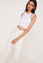 Missguided Airtex Double Strap Crop Top White