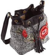 Joe Browns Womens Pullstring Bucket Bag with Embroided Flower
