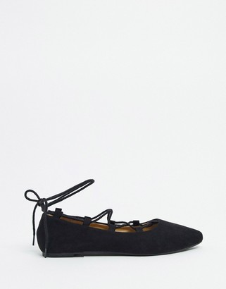 BEBO lace detail flat shoes in black