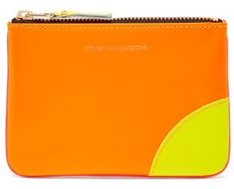 Comme des Garcons Fluorescent Leather Coin Purse - Orange Multi
