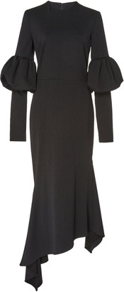 Christian Siriano Bubble-Sleeve Crepe A-Line Dress