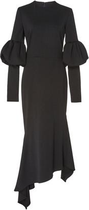 Christian Siriano Bubble-Sleeve Crepe A-Line Dress