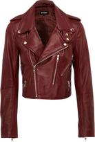 Oxford Lizzy Crop Leather Jacket Burg X