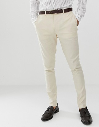 Asos Design DESIGN wedding super skinny suit trousers in stone linen