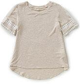 Copper Key Big Girls 7-16 Hi-Low Crochet-Trim Top