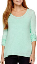 A.N.A a.n.a Long-Sleeve Woven-Back T-Shirt- Petite