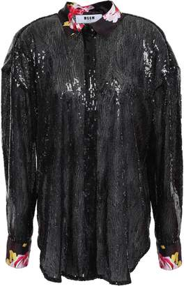 MSGM Satin-trimmed Sequined Tulle Blouse
