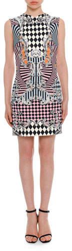 Versace Sleeveless Damask-Print Fitted Dress