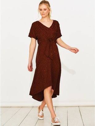 M&Co Sonder Studio leopard print tie front dress