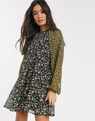 ASOS DESIGN trapeze mini dress in mixed ditsy floral print