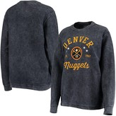 G Iii Women's G-III Sports by Carl Banks Navy Denver Nuggets Slouchy Comfy Cord Crewneck Pullover Sweatshirt