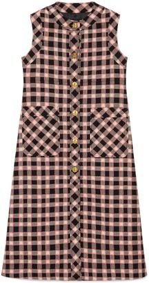 Gucci Check tweed long vest