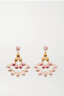 Larkspur & Hawk Caterina Fan 18-karat Gold-dipped Quartz Earrings