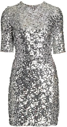 Dolce & Gabbana Short-Sleeve Sequin Mini Dress