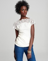 Catherine Malandrino Boat-Neck Top with Embroidered Neckline and Asymmetrical Ruching