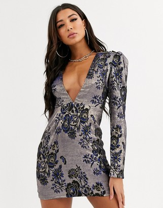 Rare London plunge jacquard mini dress