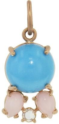 Irene Neuwirth Kingman Turquoise Cabochon, Pink Opal and Diamond Charm