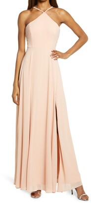 Lulus Absolutely Breathtaking Halter Gown