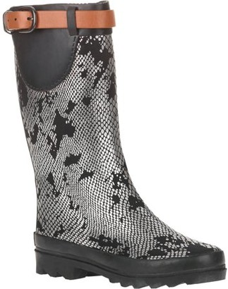 Couture Forever Young Women's Metallic Snake Skin Print Rain Boot